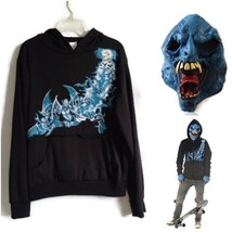 Ghoul Skateboarder Costume XL 12/14 Hoodie & Mask - $15.00