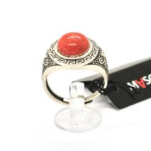 925 Silver Ring Antique with Jasper Red Made in Italy by Maschia image 3