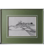Tree Frog, Framed Matted Wildlife Print, Pen and Ink, Animal Art Print, ... - $30.00