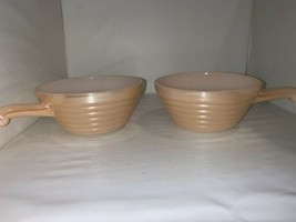Vintage Set of 2 Peach Fire King Bowls With Handles Luster Ware Beehive Pattern - $14.01