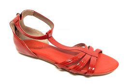 New COLE HAAN Size 9.5 Red Patent Ankle Strap Back Zip Sandals Shoes 9 1/2 - $59.00
