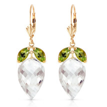 25.5 CTW 14K Solid Gold Earrings Peridot Briolette White Topaz - $582.19