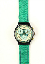 Swatch Performance Chrono Watch 1994 Turquoise Leather Band Vintage Brand New - $245.00