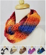 Multi Color Knit Infinity Winter Scarf Elastic Warm Tie Dye Circle Loop ... - £6.45 GBP