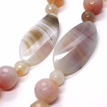 Long necklace 100 CM, 1 Meter Red Agate and Brown, Oval Spheres, double wire image 4