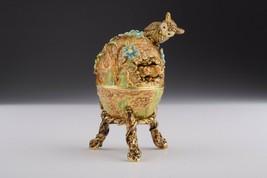 Faberge Egg & Owls trinket box hand made by Keren Kopal & Austrian crystals  - $162.00