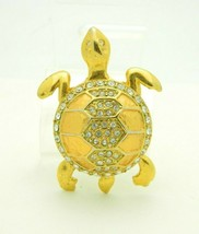 Clear Rhinestone Turtle Gold Tone Pin Brooch Heavy Vintage - $29.69