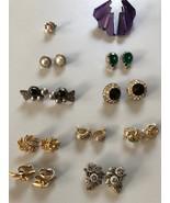 Lot of 10 Vintage Various Style Pierced Earrings, Rhinestone, Weiss, Tri... - $46.28