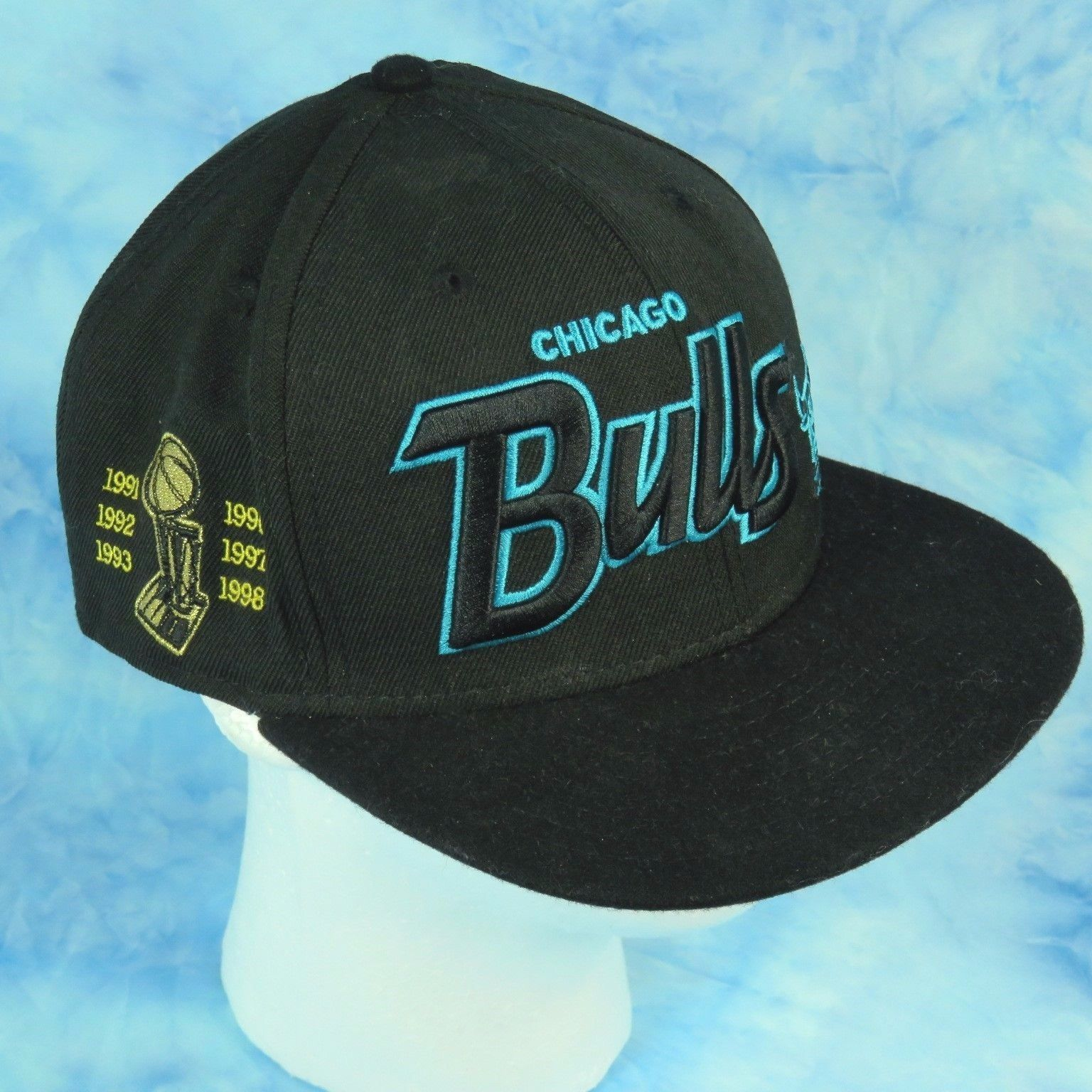 c3dec87b5df New Era Chicago Bulls Black Aqua Script Wool Snapback Hat Cap 90s  Championships