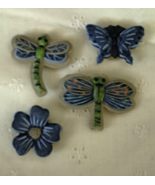 4 QUAKER FACTORY Button Covers Flower, Butterfly, 2 Dragonfly   - $9.00
