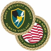 "ARMY SECURITY AGENCY ALWAYS VIGILANT ASA 1.75"" CHALLENGE COIN - $17.14"