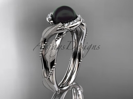 Vine and leaf black pearl engagement ring Platinum diamond wedding ring ABP65 - $1,825.00