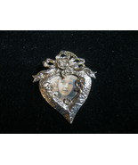 HEART with Rose Vintage Picture Photo Holder BROOCH in Gold-Tone - 2 1/4... - €21,08 EUR