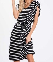 Black Striped Dress, Midi Dress, Ruffle Sleeves, Made in USA, Colbert Clothing