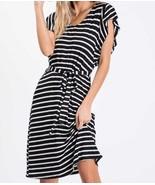 Black Striped Dress, Midi Dress, Ruffle Sleeves, Made in USA, Colbert Cl... - €43,23 EUR