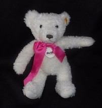 "10"" STEIFF 673566 TEDDY BEAR WHITE W/ PINK BOW TEDDYBAR STUFFED ANIMAL P... - $45.82"