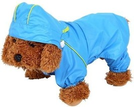 Pet Dog Raincoat Waterproof Jumpsuit Puppy Drawstring Hooded Rain Jacket Blue - $19.37