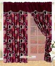 4-P Faux Fur Cirlces Stripes Curtain Set Purple Burgundy Red Valance Drape Liner - $30.89