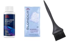 Wella Blondor Multi Blonde Powder 1OZ +30V Welloxon Develper 2OZ + Color Brush - $10.99