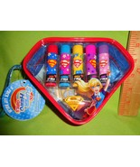 DC COMICS supergirl 5 piece SUPER HERO GIRLS Lip Balm IN A Cosmetic Bag ... - $11.57