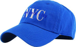 NYC Washed Polo Style Baseball Ball Cap Hat 100% Cotton - Royal #KBT13  - $18.17