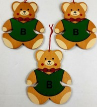 Vintage Flat Wooden Ornaments Set of 3 Teddy Bears 5 1/2 Inch Tall Doubl... - $28.70
