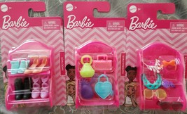 Barbie Doll Fashion Accessories: Handbags, Shoes,Headbands W/Storage She... - $12.34