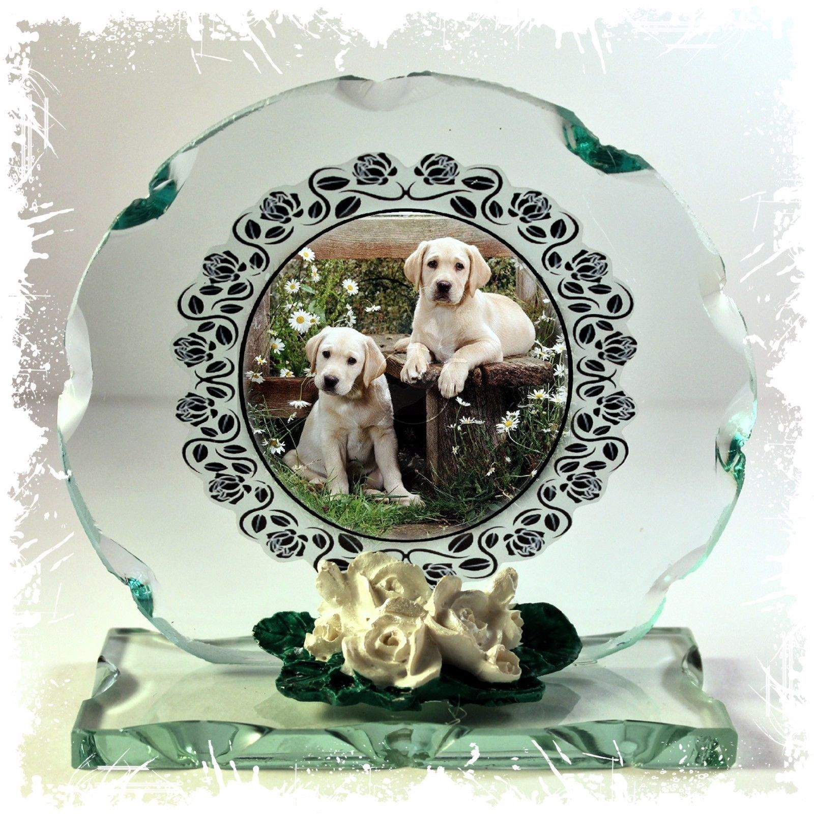 Labrador Puppies Cut Round Glass Plaque custom Made gift for Lab fan #1