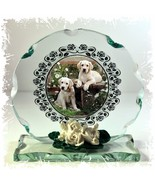 Labrador Puppies Cut Round Glass Plaque custom Made gift for Lab fan #1 - $30.59