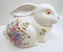 Fern Takakash San Francisco Japan Ceramic Bunny Rabbit Flowered Decor Fi... - $39.95