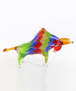 Murano Glass Figurine, Bull Glass Sculpture, Venetian Style Glass, Beaut... - $149.00
