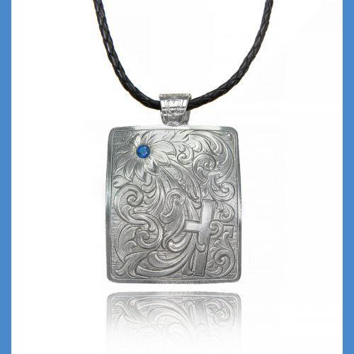 Ms square concho cross blue stone necklace
