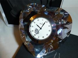 Bulova Diamond Cut Heart Shape Paperweight / Desktop Clock Time Piece  - $25.00