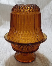 Vintage Indiana Glass Amber 2-piece Diamond Point Fairy Lamp (circa 1950s) - $18.00