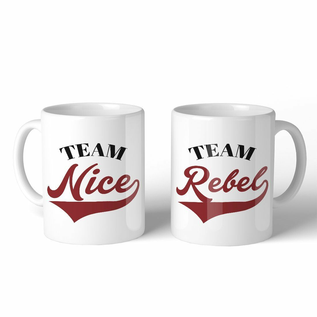 Team Nice Team Rebel BFF Matching Gift Ceramic Coffee Mugs 11oz