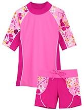 Tuga Girls Seaside S/S & Swim Short UPF 50+, Misty Pink, 12/18 mos - $37.19