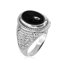 Sterling Silver Marijuana Weed Black Onyx Cabochon Statement Ring - $69.99