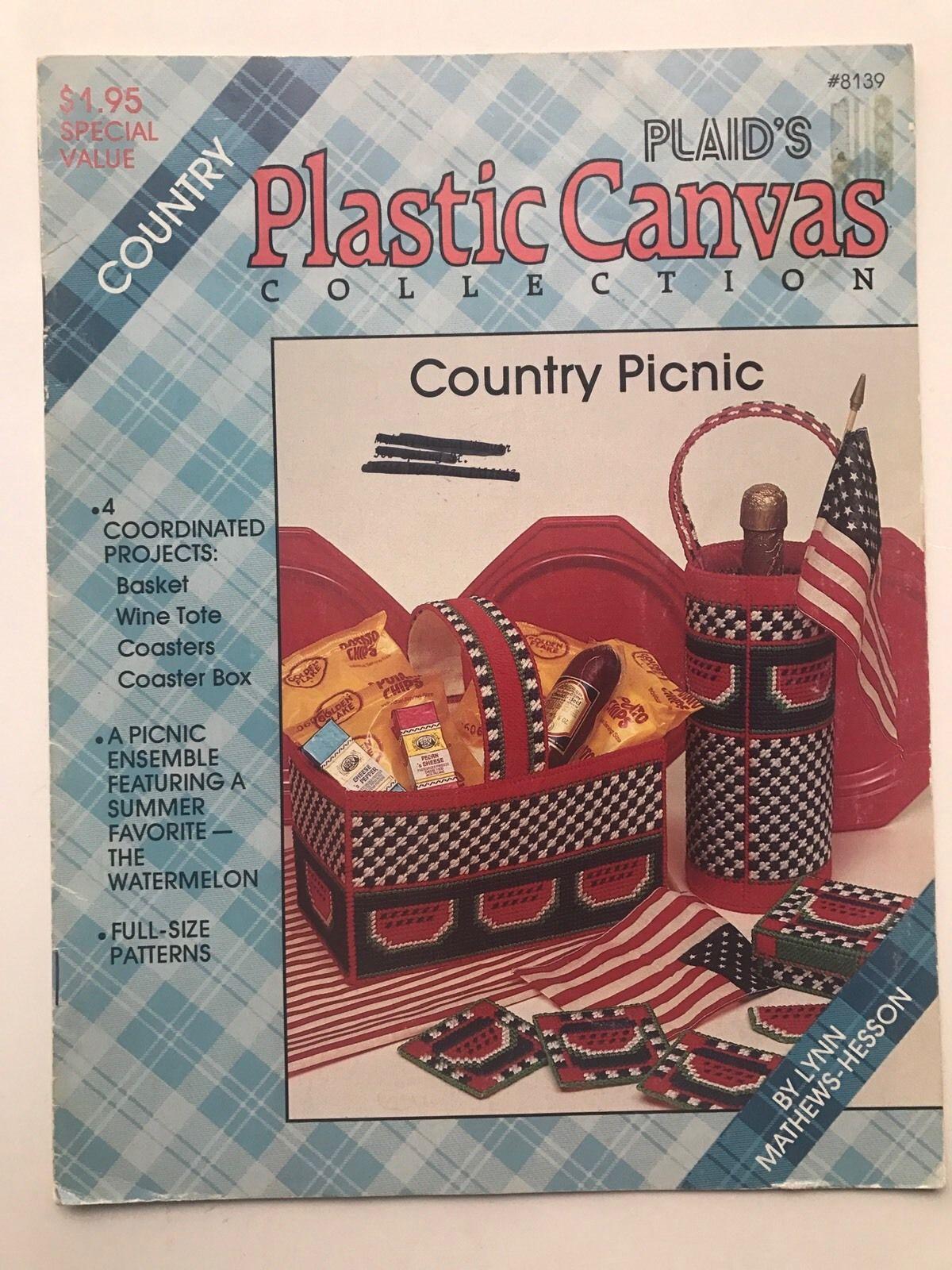 Vintage Plastic Canvas Leaflet 8139 Country Picnic Watermelon Print Plaid's Coll - $4.97