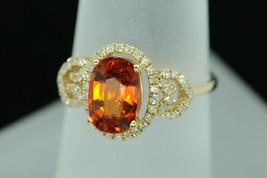 Art Nouveau Style 14K Yellow Gold Spessartite Garnet and Diamond Ring (S... - $1,250.00