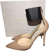 Jimmy Choo Trinny Pointy Toe Pump Beige Leather Heel 39.5- 9 Ankle Cuff ... - $420.00
