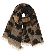 7 Seas Republic Women's Leopard Print Fringed Fashion Scarf in Brown - $22.99
