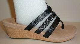 UGG Australia Size 7.5 MADDIE Black Leather Wedge Heel Sandals New Women... - $117.81