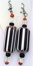Black White Glass Bead Earrings - $11.99