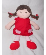 Carter's Doll Plush Soft Toy Red Dress Pink Hearts Brunette Brown Braids... - $39.48