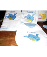 Blue Bird Layette Set --Bib, Burp Cloth, and Receiving Blanket --Baby Sh... - $29.99