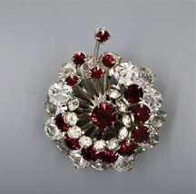 Vintage Tiered Ruby Red Rhinestone Brooch Pin Made With Swarvoski - $19.79