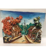 Argentina Folk Art Village Scene 3D Multi Media Textured 10x8 Signed - $46.74