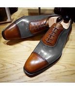 Unique Grey Brown Contrast Cap Toe Leather Shoes, Men's Wedding Lace Up ... - $158.99