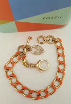 Fossil Padlock and Key Charm Gold Curb Link Bracelet  - $34.99