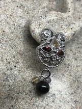 Vintage Red Garnet Earrings 925 Sterling Silver Citrine White Sapphires - $130.67